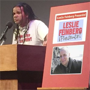 Jefferson Azevedo honoring Leslie Feinberg in Los Angeles.