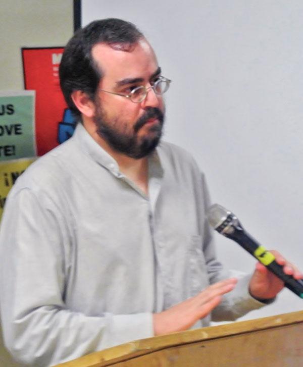 Representative from the Mexican protest movement Yo Soy 132.WW photo: Alex Majunder