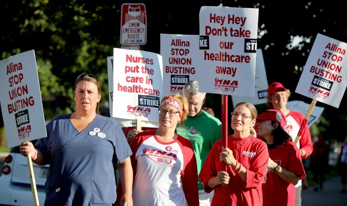 Alina Health nurses on strike.