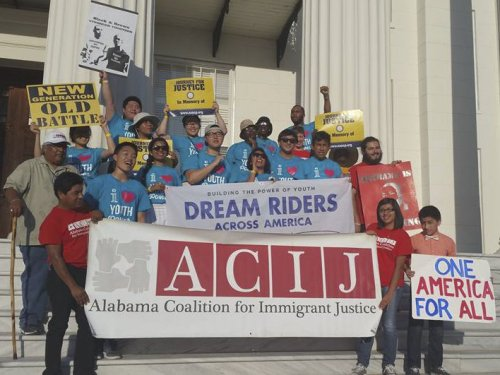 Protest on the steps of the Alabama Capitol building by Dream Riders, Alabama NAACP and Alabama Coalition for Immigrant Justice.Photo: Dream Riders Across America