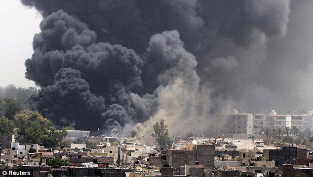 NATO bombs Tripoli, Spring 2011.