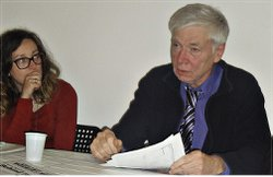 Emanuela Grifoni and WW's John Catalinotto at anti-war meeting in Pisa, Italy.