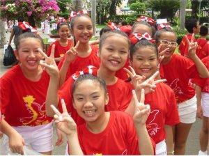 Vietnamese children at rehearsal for victory commemoration.WW photo: Joyce Chediac