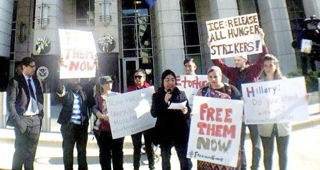 A Dec. 10 solidarity protest in front of U.S. Immigration and Customs Enforcement (ICE) headquarters in Washington, DC, demands the release of all hunger-striking detained immigrants.Photo: Yashi Mori