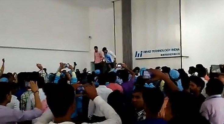 hipad noida worker violent protest