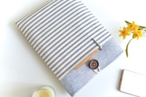 Bertie's Closet - Etsy - Blue Stripes Laptop Sleeve