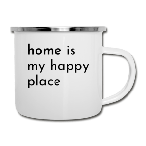 white camper mug with home is my happy place saying