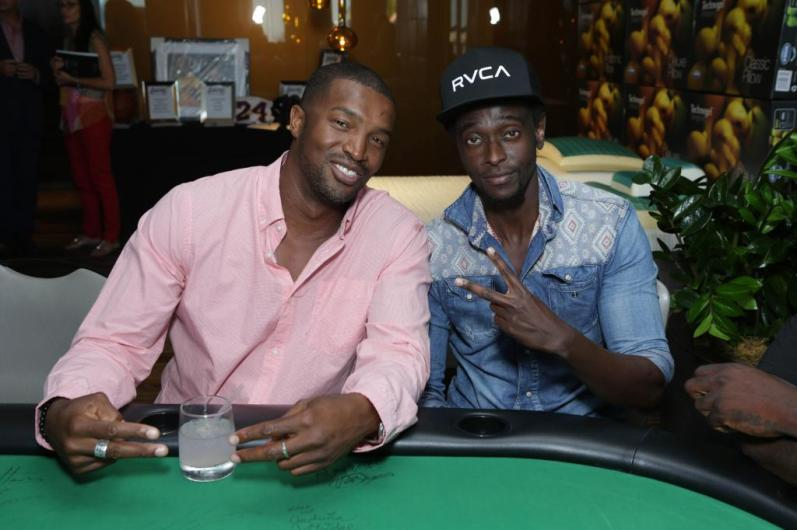 Roger Cross and Edi Gathegi at the GBK Pre-ESPY Award Lounge 2013