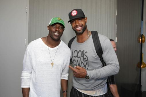 Terrell Owens and Marcedes Lewis at the GBK Pre-ESPY Award Lounge 2013