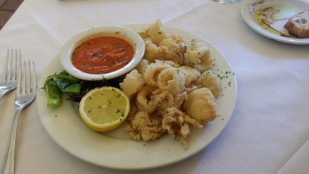 The calamari was almost tasteless, but definitely overpriced.