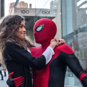 Michelle (Zendaya) catches a ride from Spider-Man in Columbia Pictures' SPIDER-MAN: FAR FROM HOME.