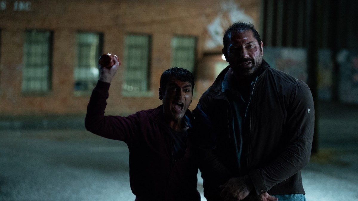 "Kumail Nanjiani as Stu and Dave Bautista as Vic in ""Stuber""."