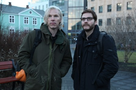 "Benedict Cumberbatch (left) portrays Julian Assange and Daniel Brühl portrays Daniel Domscheit-Berg in ""The Fifth Estate"".(Courtesy of DreamWorks Studios/Frank Connor)"