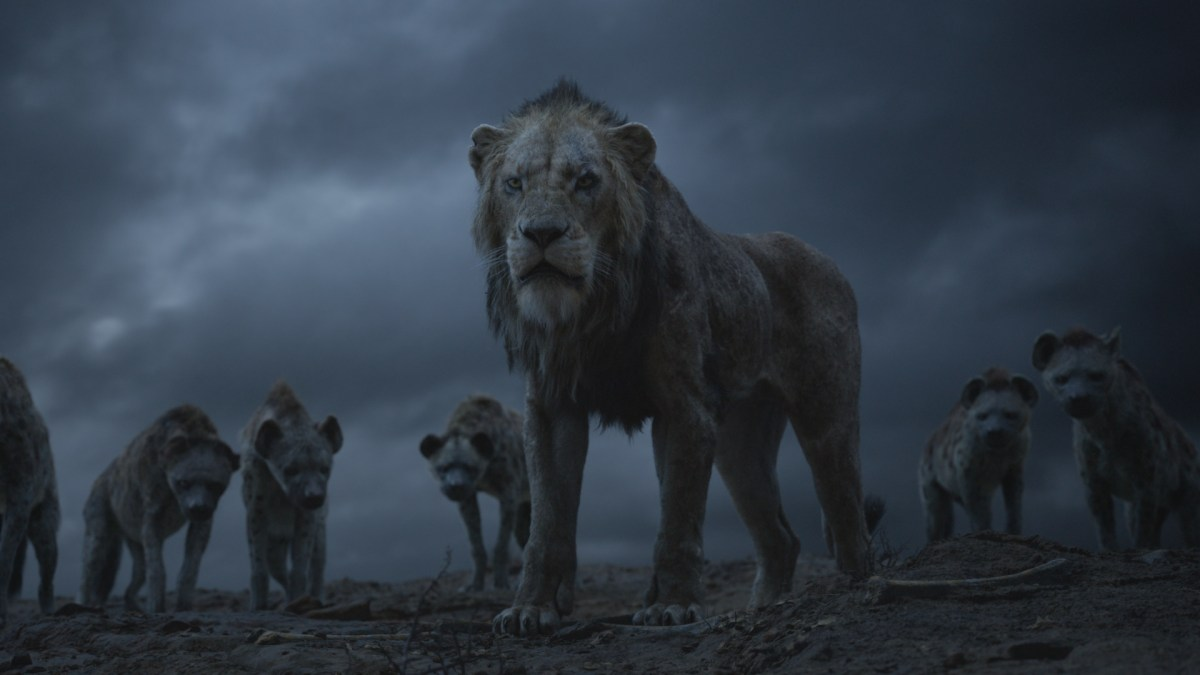 Still from The Lion King (2019) - Scar and the hyenas