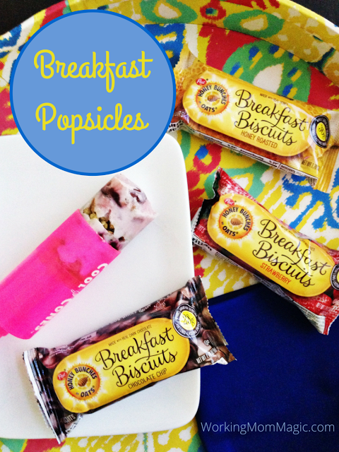 Breakfast popsicles with yogurt, fruit and breakfast biscuits
