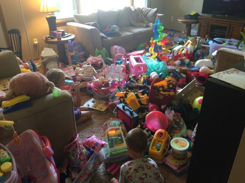 This is our before picture of our massive toy sort and purge.