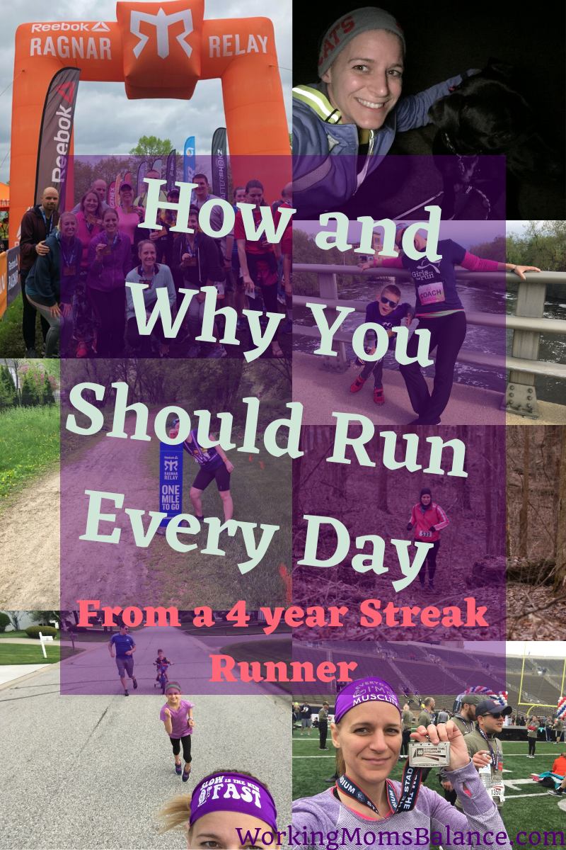 Reasons why you should run every day and tips for how to start running every day from a streak runner who has run every day for 4 years. It will change your life, you will see results. #running #runstreak #runeveryday #runner #exercise #workout