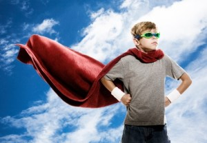 Super Hero with Clouds