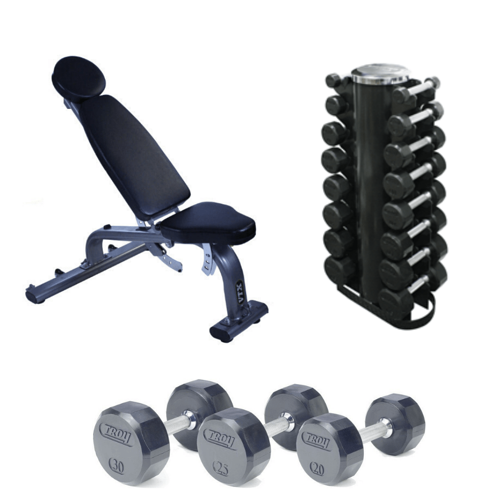 dumbbell weight set with rack and fid bench 3 25 lb pairs commercial gym quality
