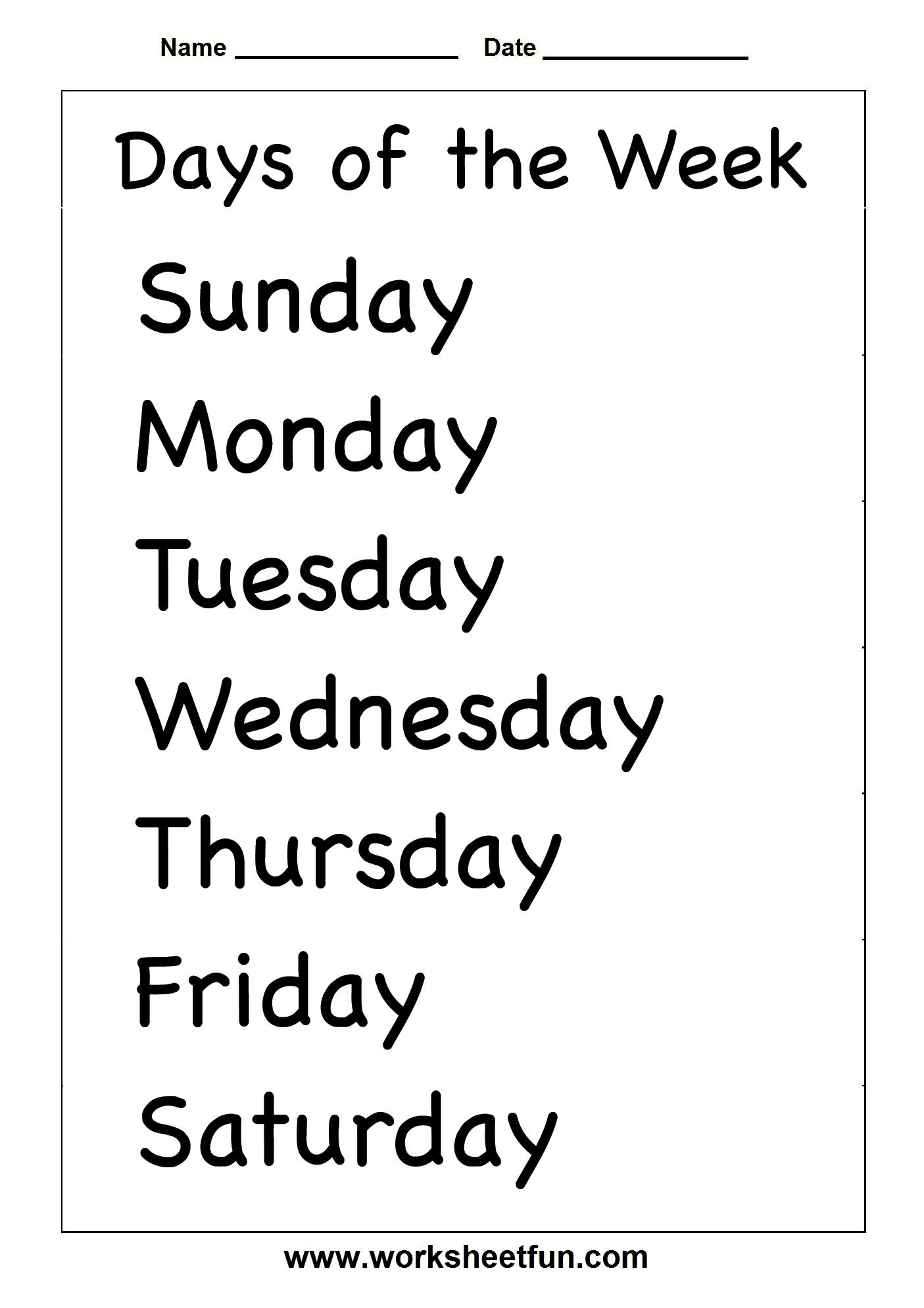 Days Of The Week 2 Worksheets Free Printable Worksheets Worksheetfun
