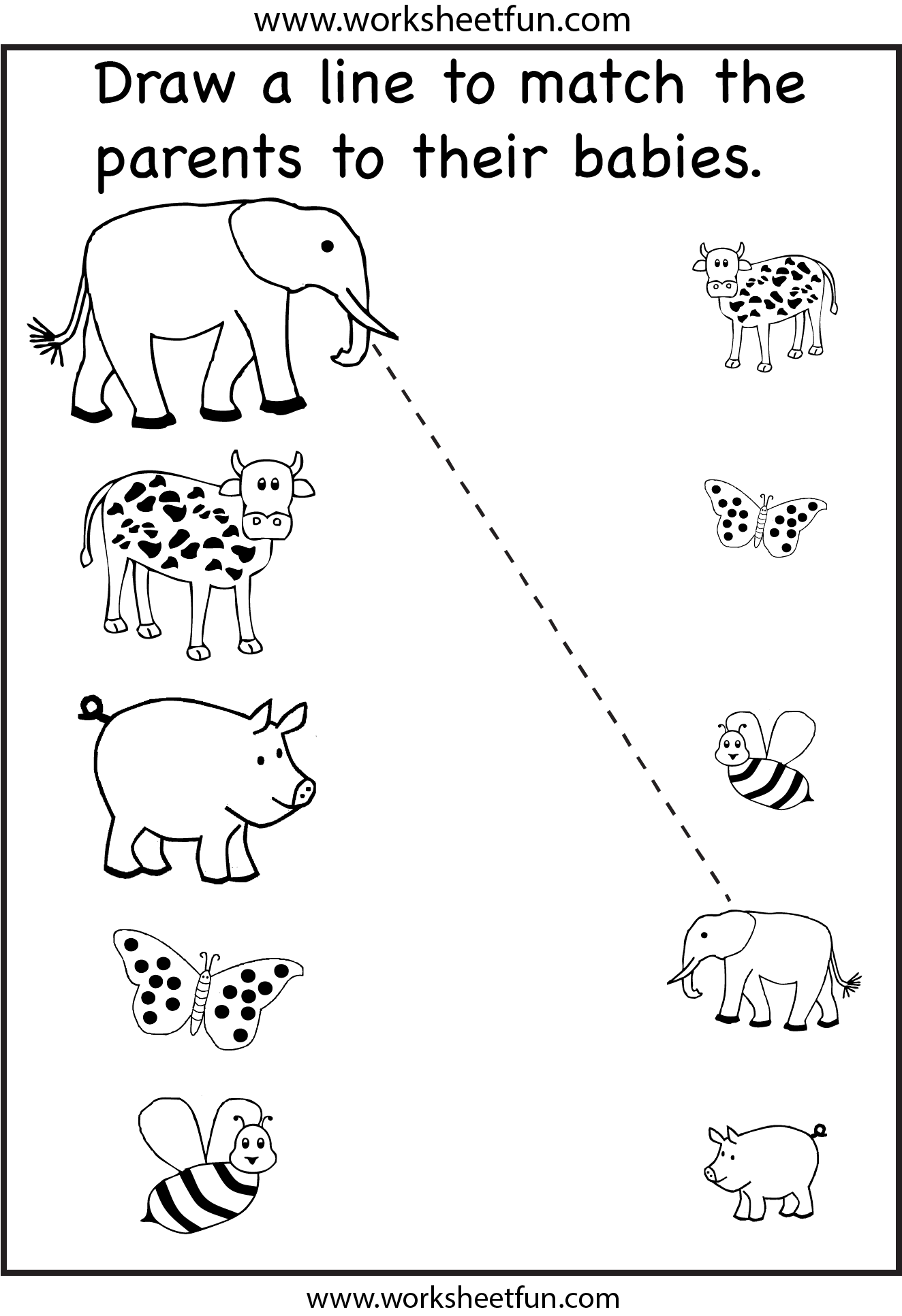 Baby Animals With Their Mothers Worksheet