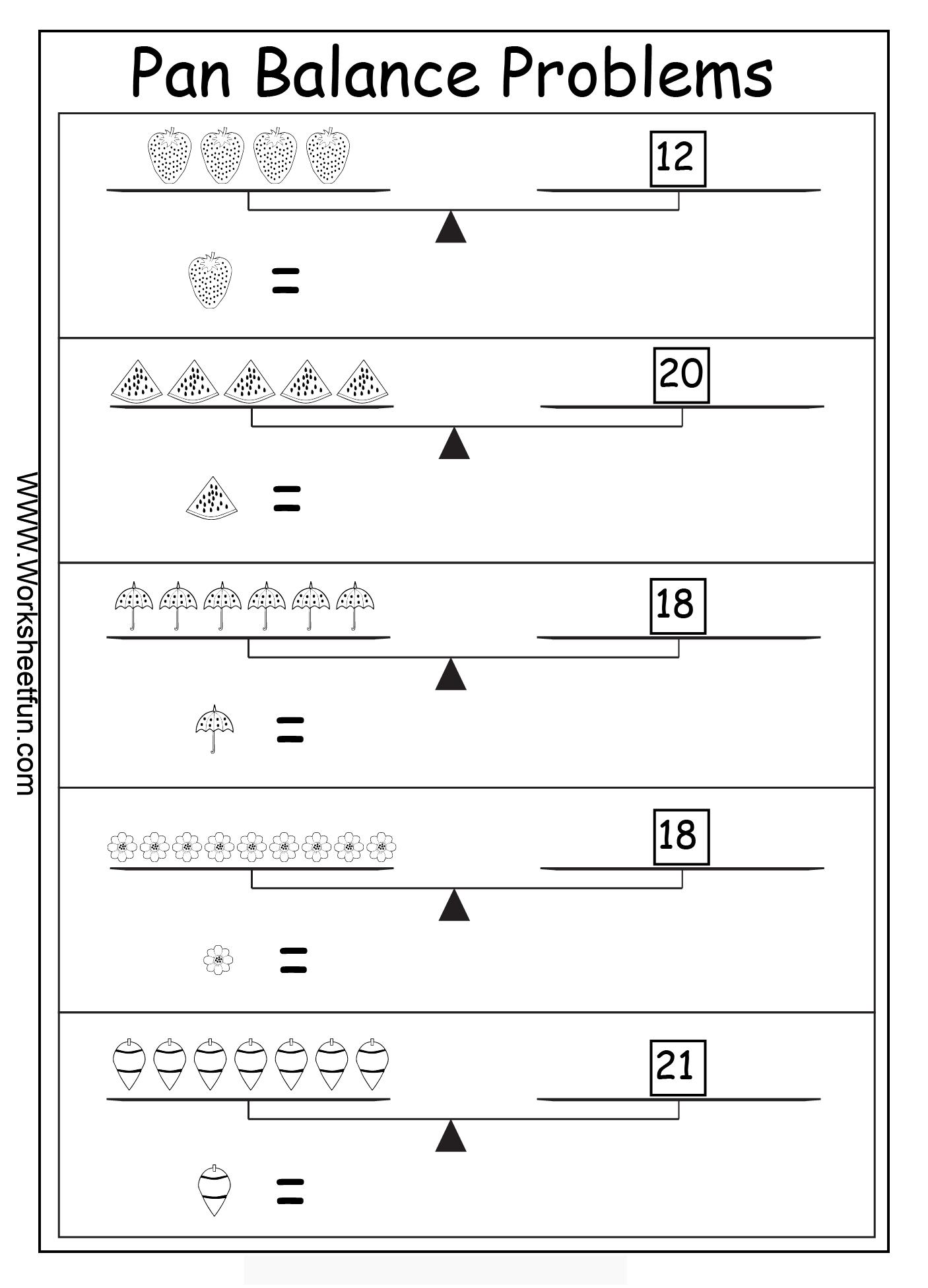 Algebra Worksheets Algebraic Reasoning Pan Balance Problems 10 Worksheets Free Printable