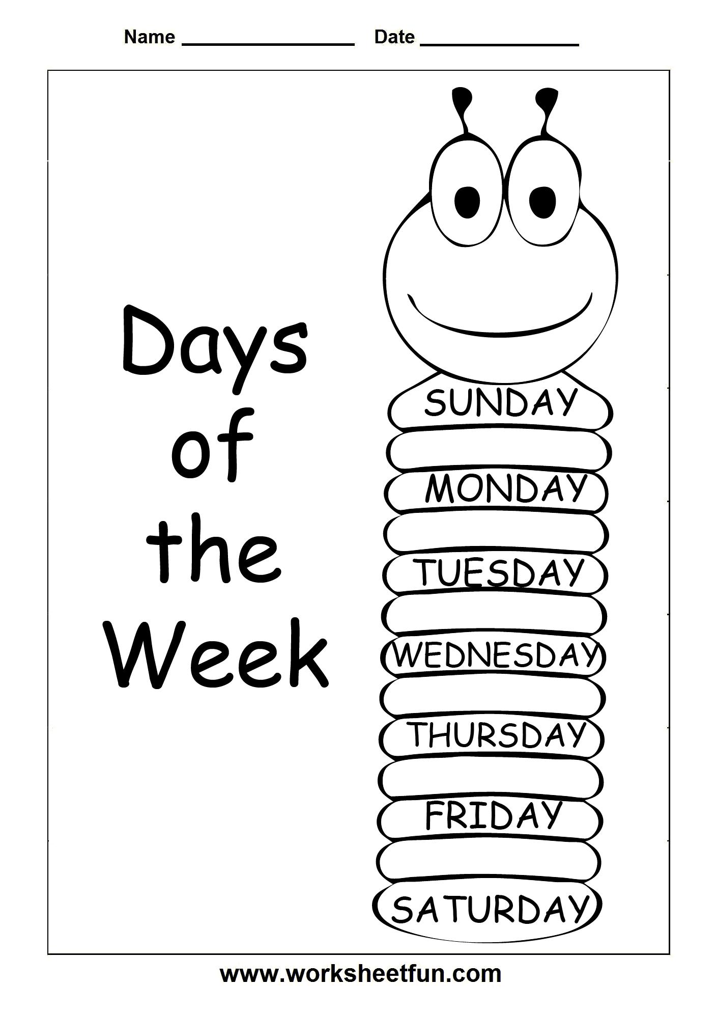 Days Of The Week 3 Worksheets Free Printable