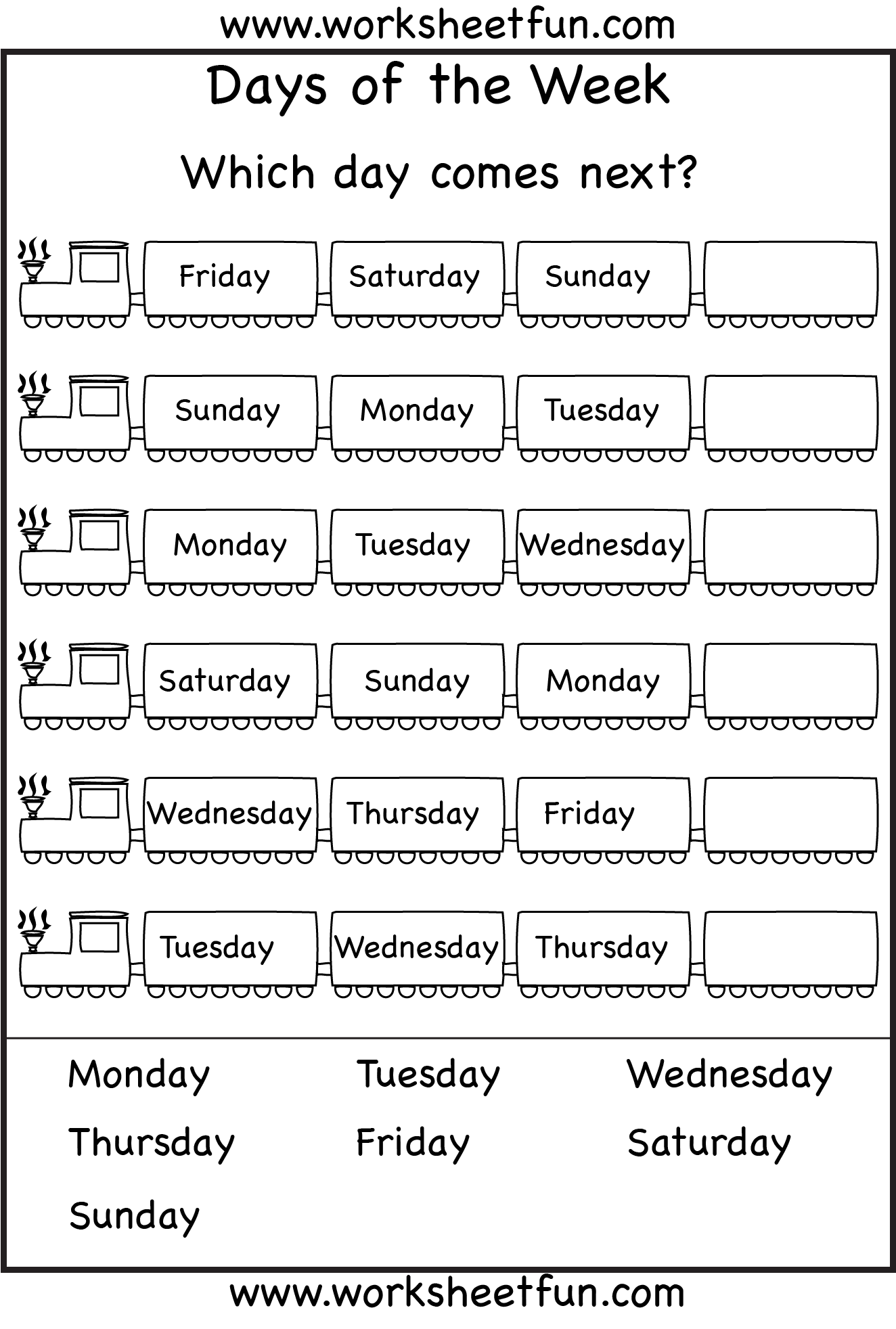 Days Of The Week Worksheets 1a Eval