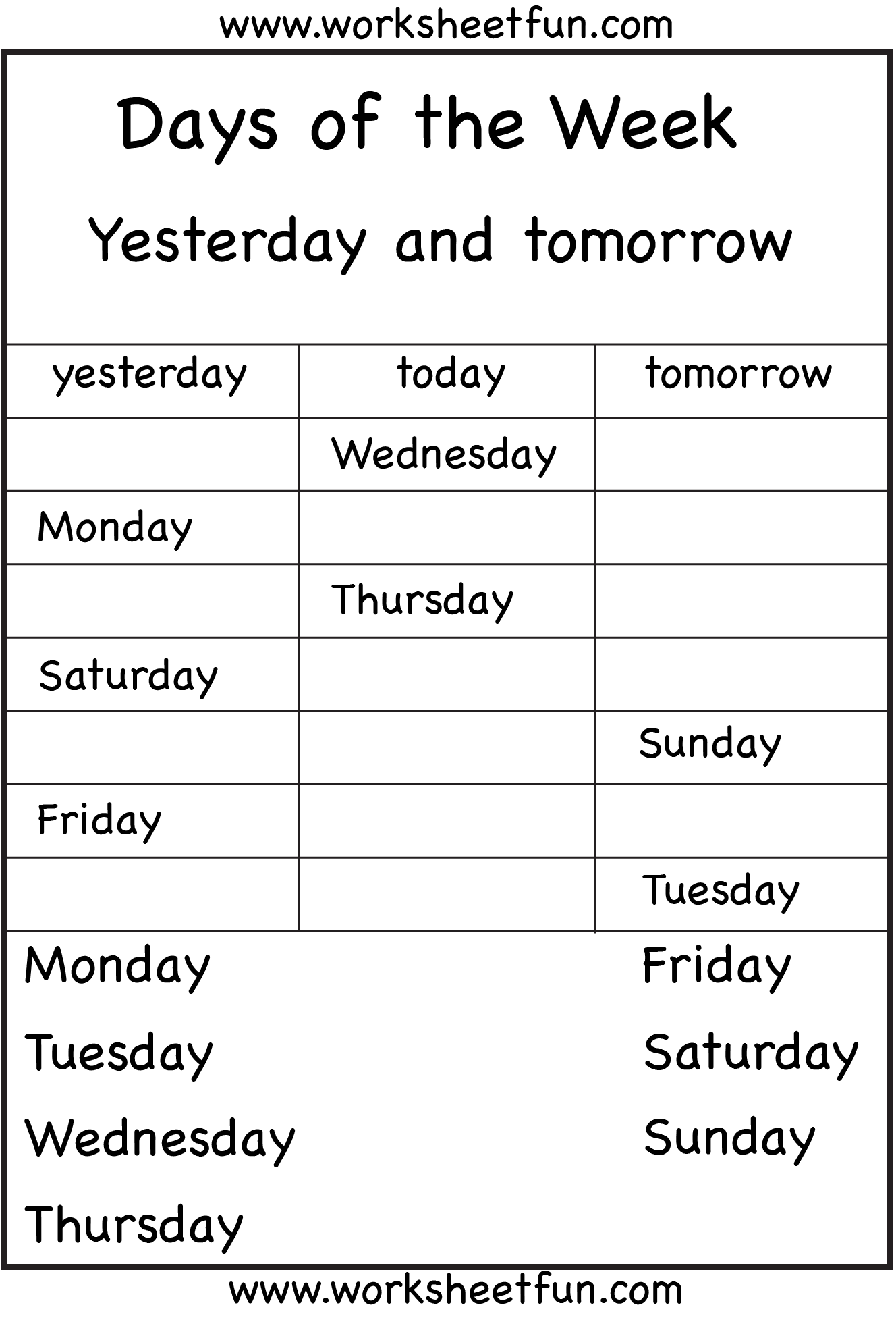 Days Of The Week Yesterday And Tomorrow 6 Worksheets