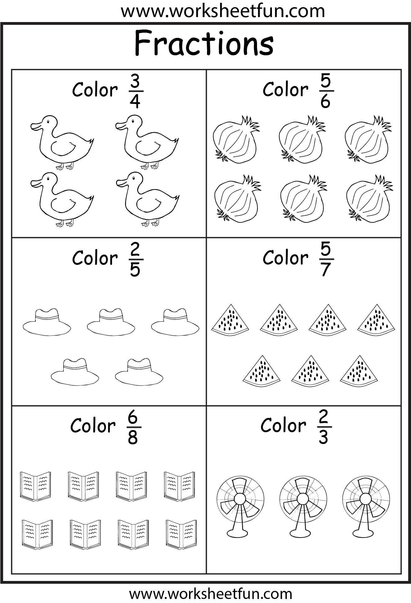 Coloring Fractions 5 Worksheets Free Printable