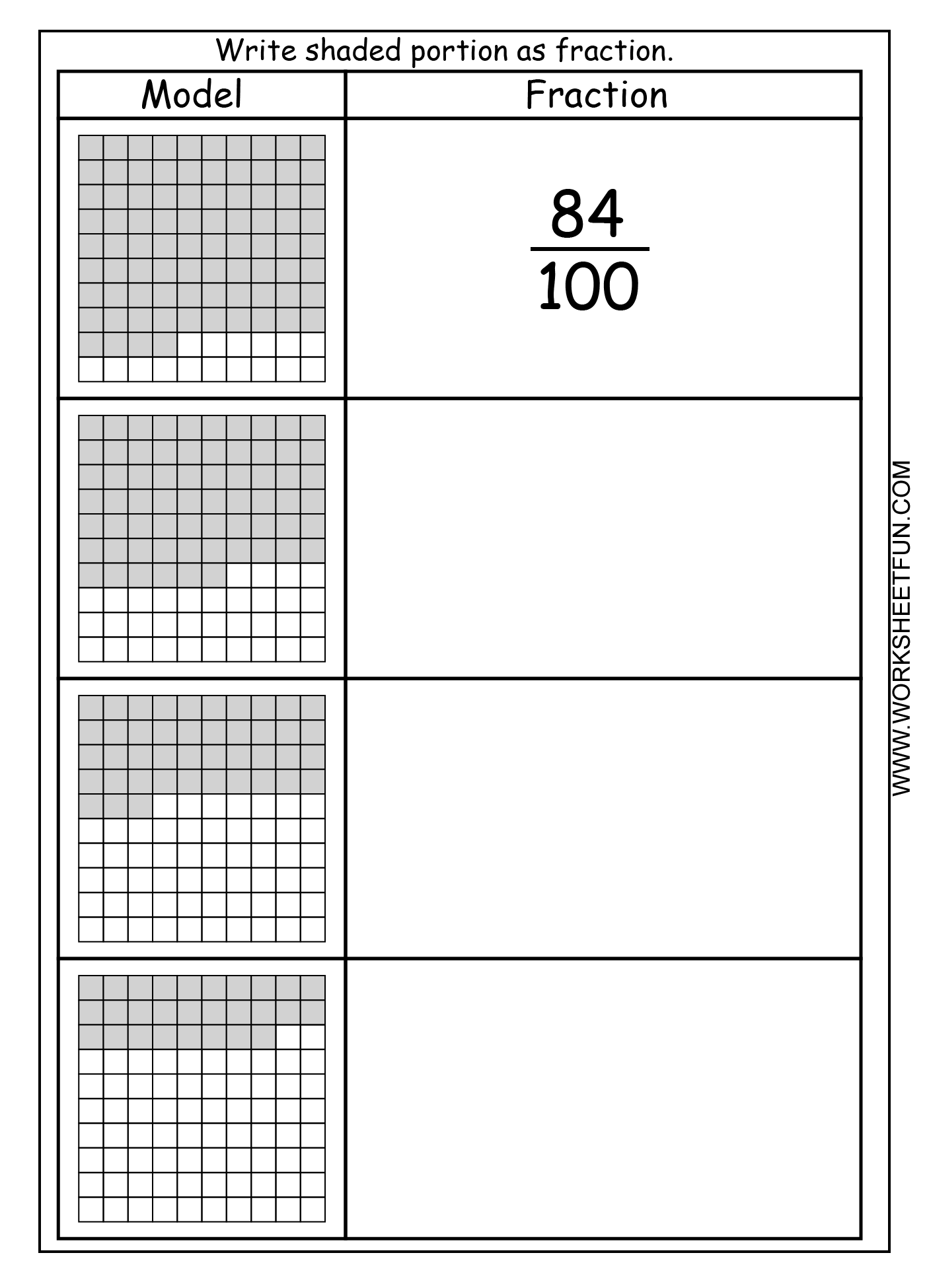 Fraction Model Hundredths 4 Worksheets Free