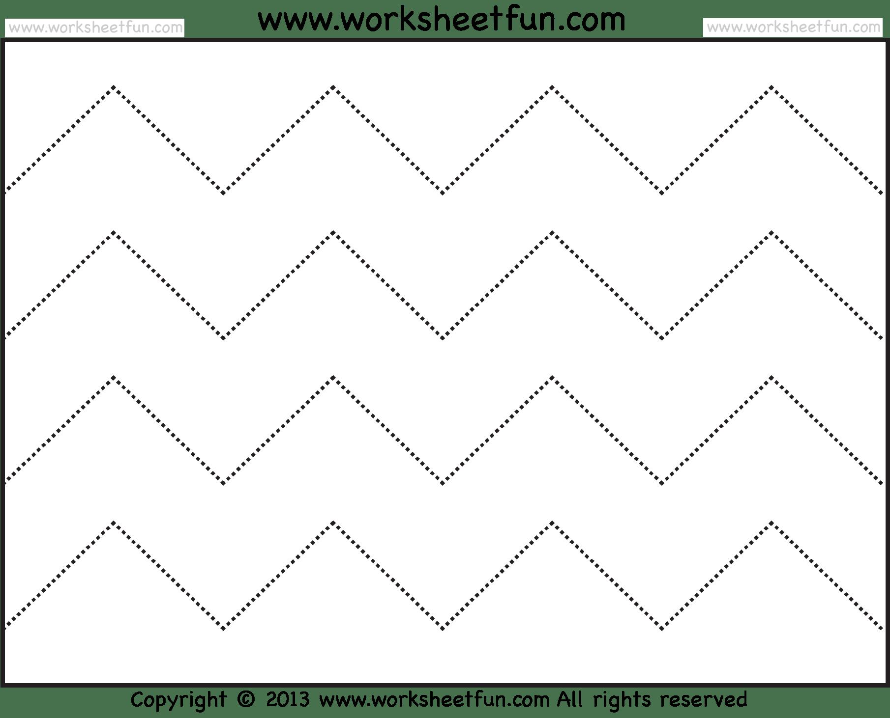 Zig Zag Line Tracing 7 Worksheets Free Printable