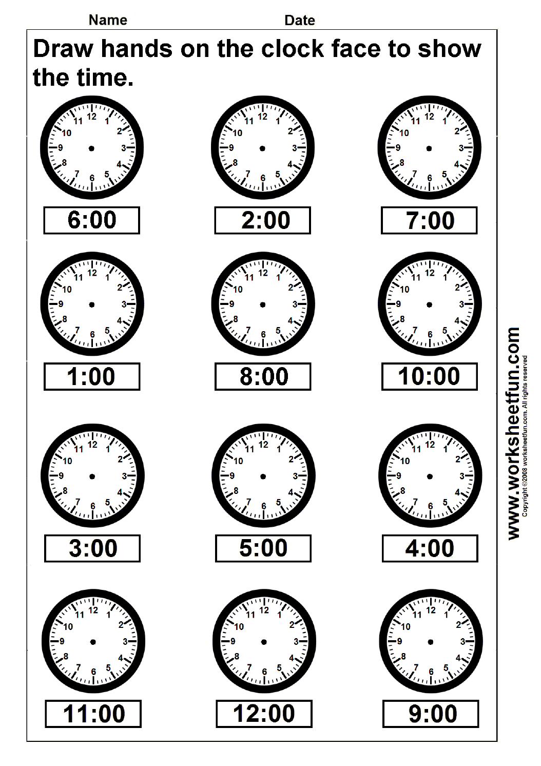 Time Draw Hands On The Clock Face 4 Worksheets Free Printable Worksheets Worksheetfun