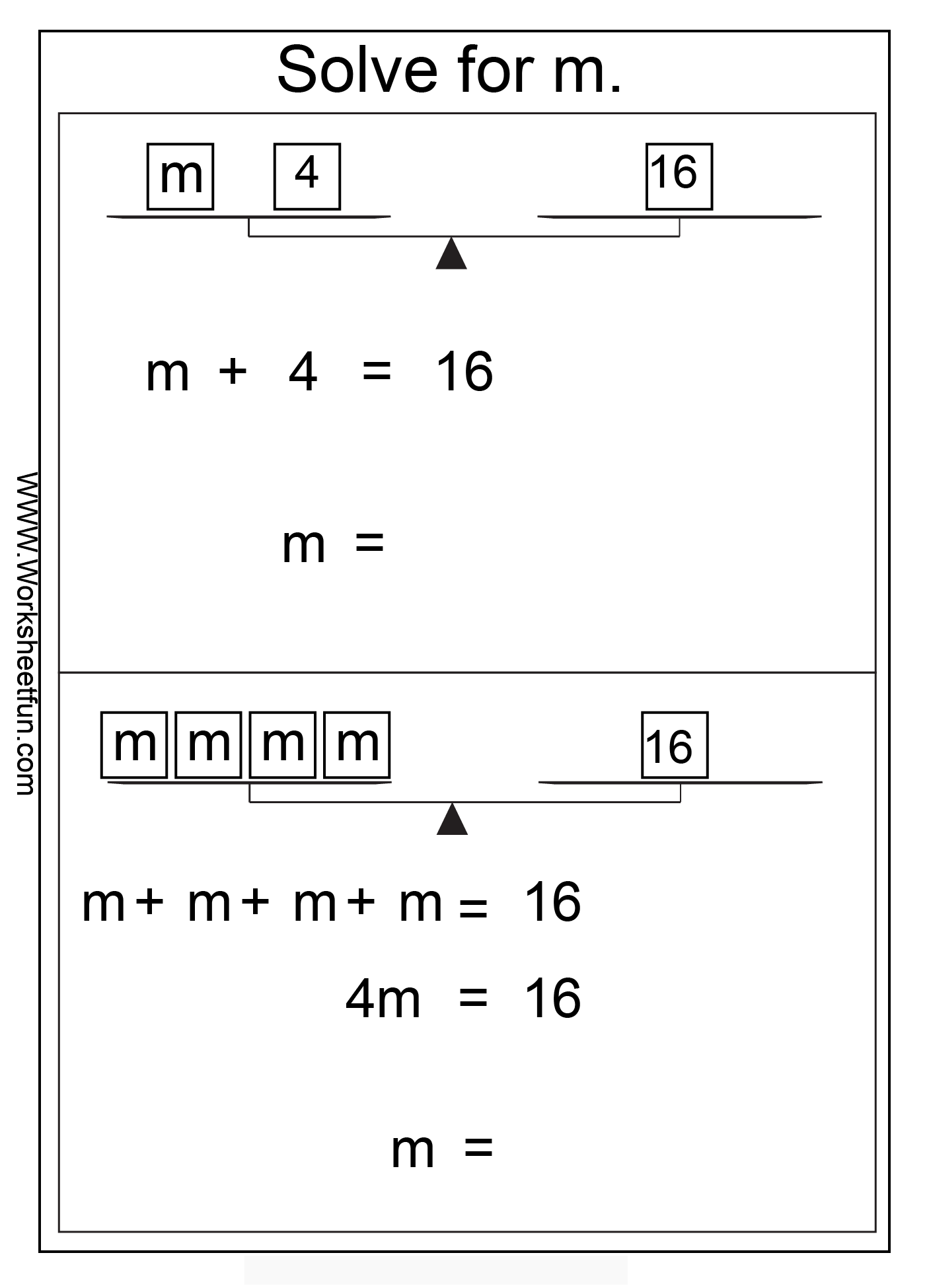 Algebra Solve For M Solve The Equation 6 Worksheets
