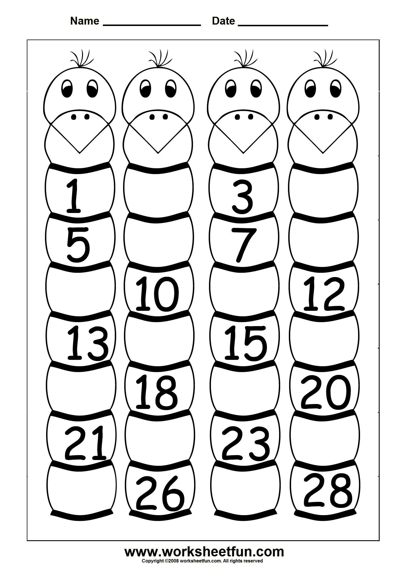 Missing Numbers 1 To 28 Four Worksheets Free