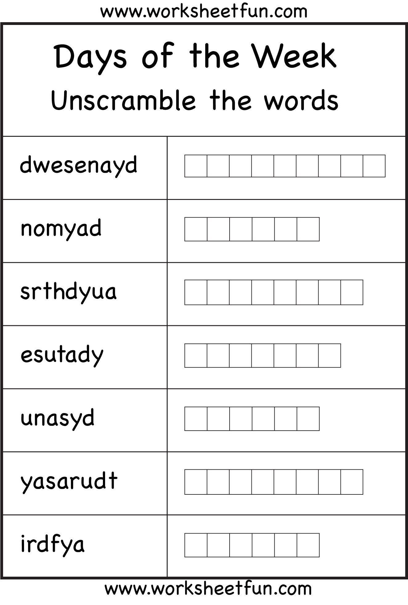 Days Of The Week 2 Worksheets Free Printable