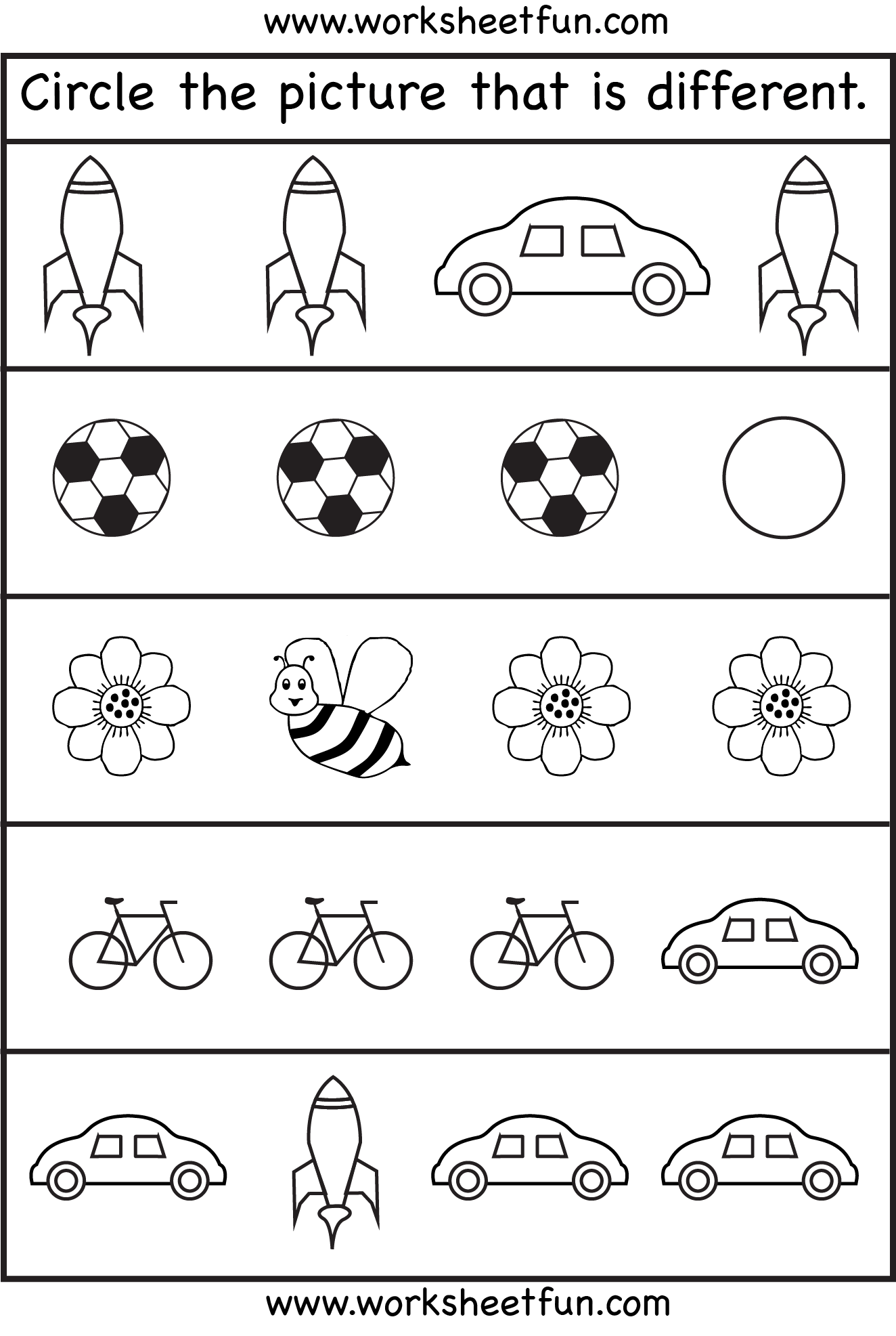 Circle The Picture That Is Different 4 Worksheets Free