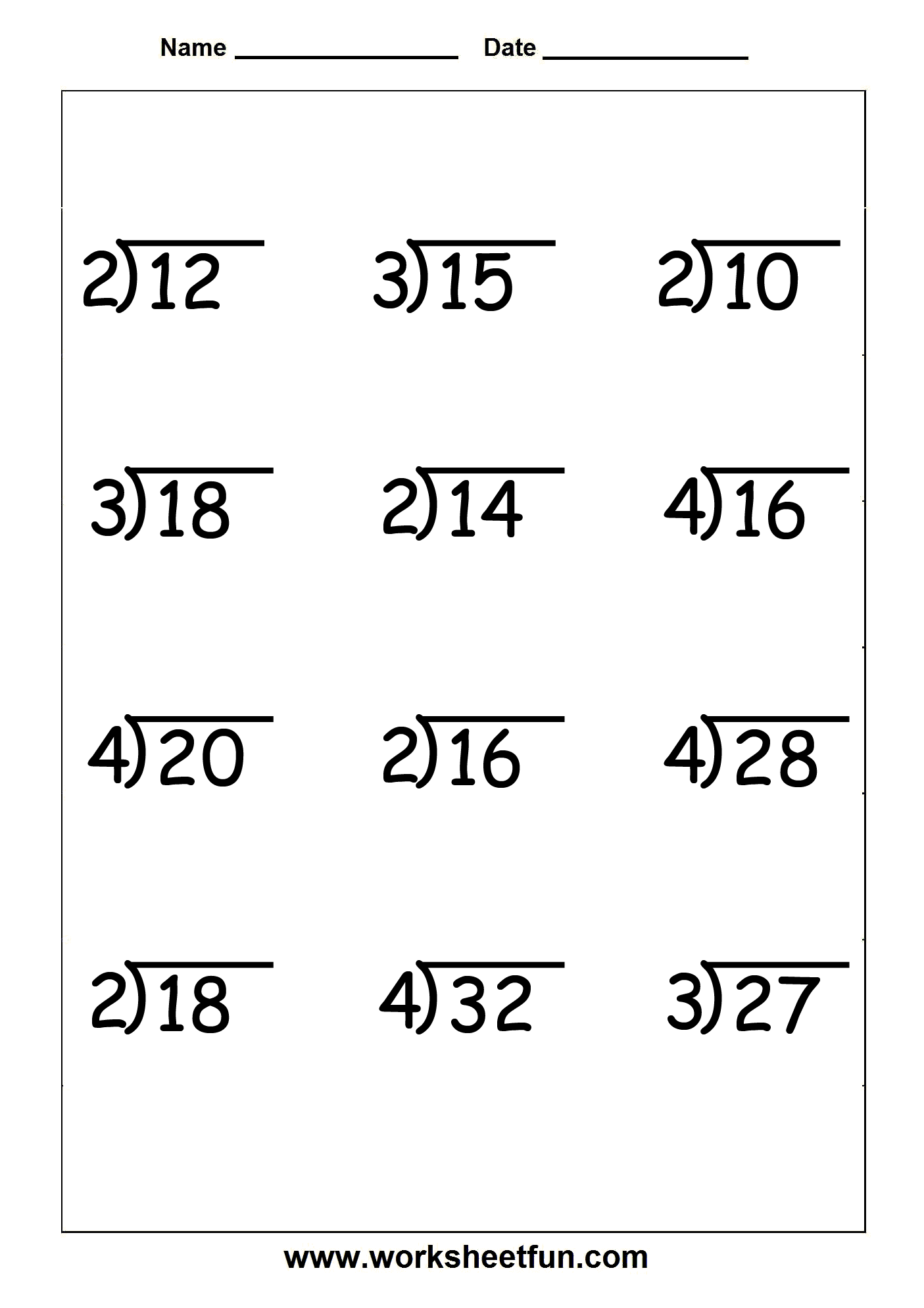 Free Printable Long Division Worksheets