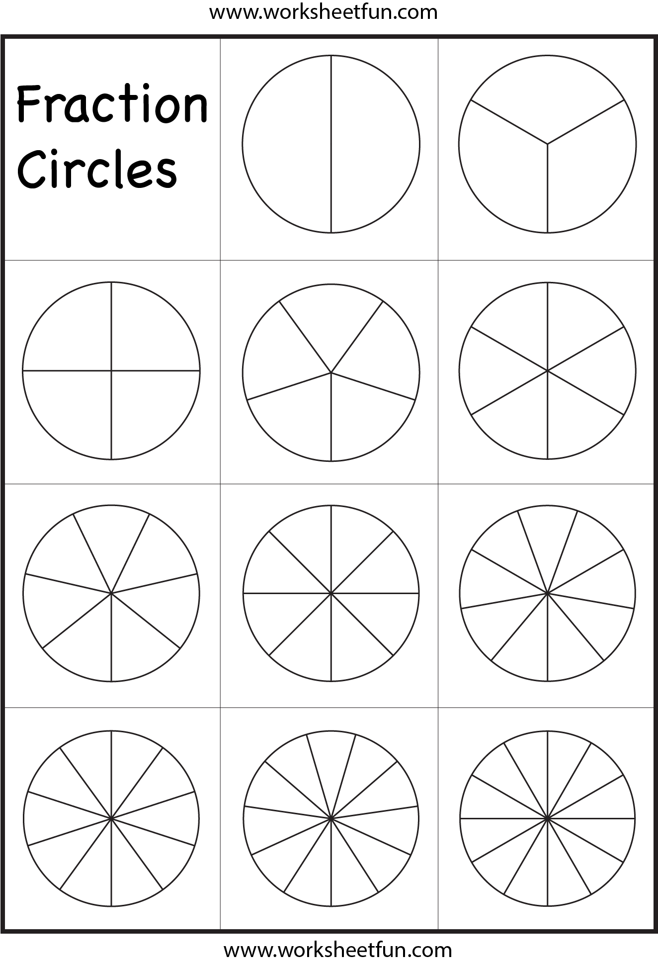 Fraction Circles Template Printable Fraction Circles 1