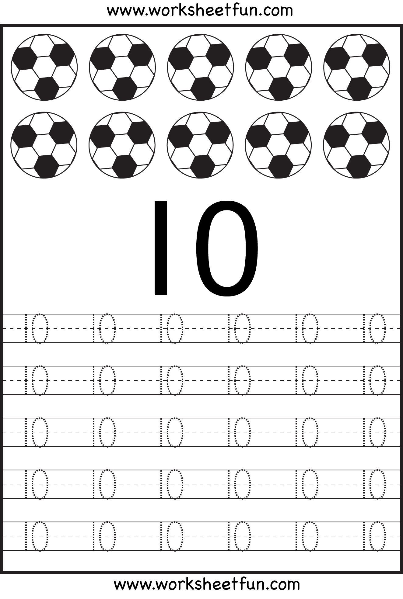 Number Tracing Worksheets For Kindergarten 1 10 Ten Worksheets Free Printable Worksheets