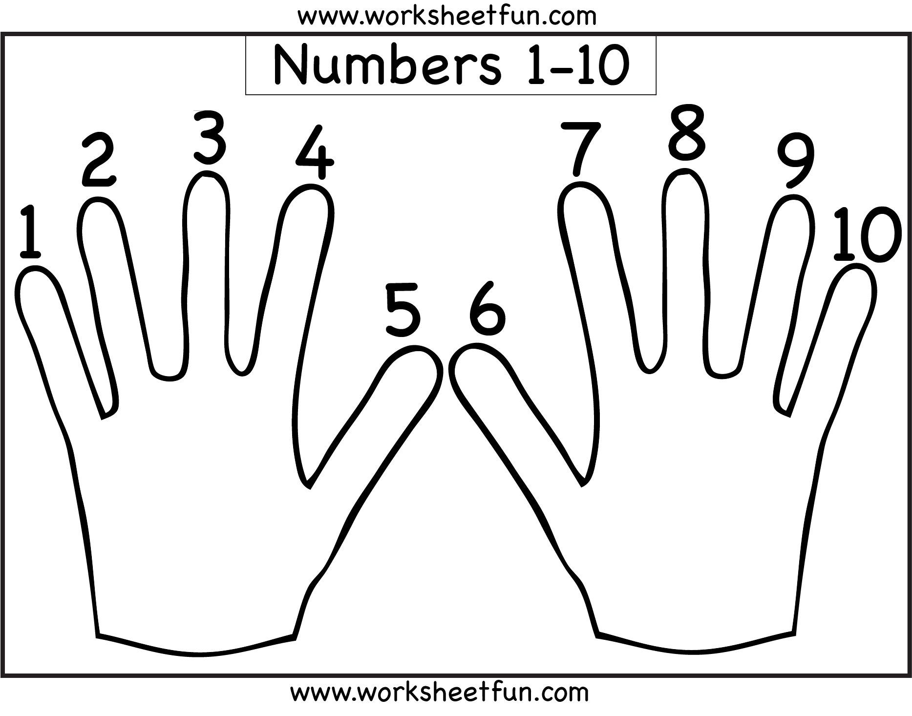 Number Counting 1 10 Free Printable Worksheets