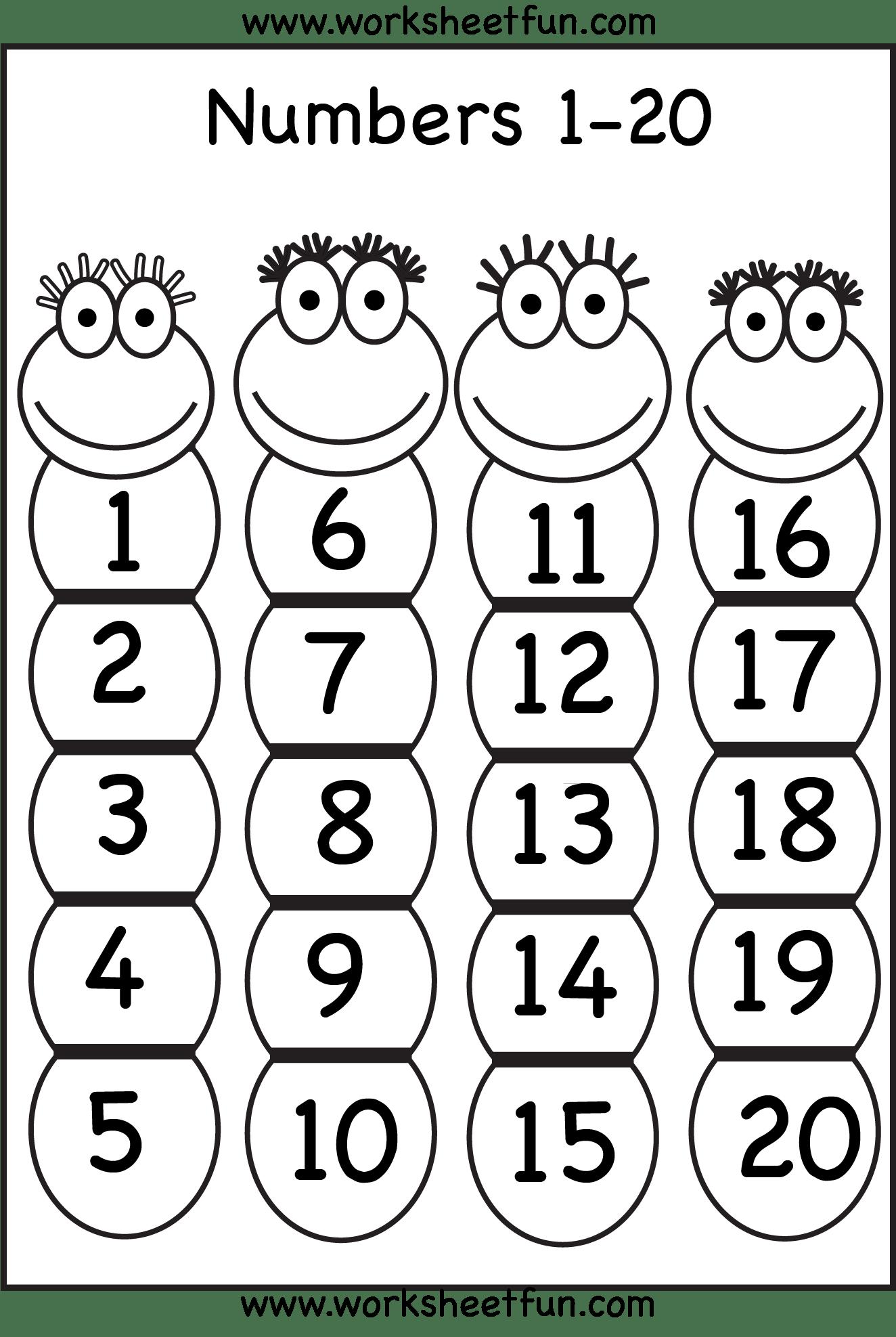 Number Chart 1 20 Free Printable Worksheets Worksheetfun