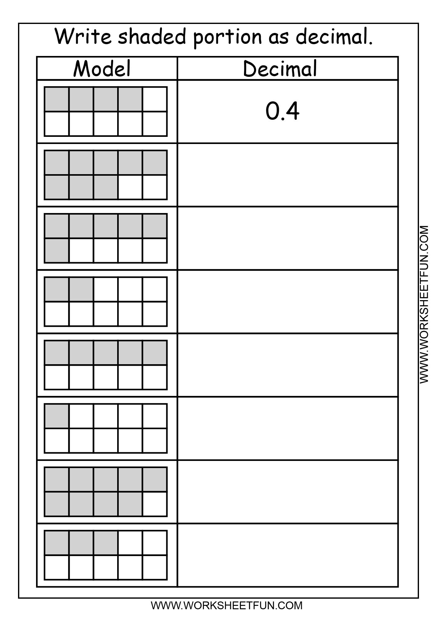 Decimal Model Tenths 2 Worksheets Free Printable