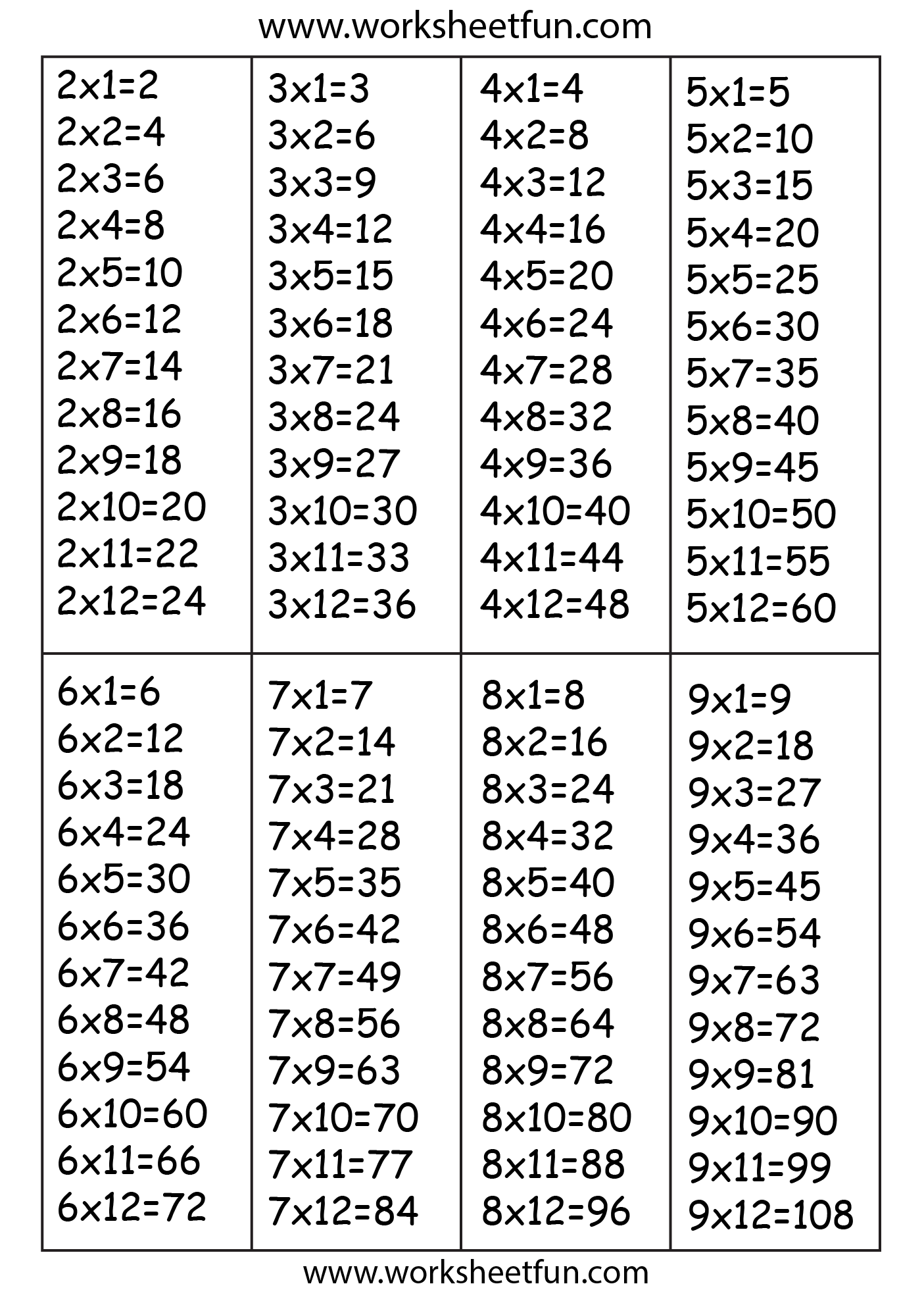 Times Table Chart 2 3 4 5 6 7 8 Amp 9 Free Printable Worksheets Worksheetfun