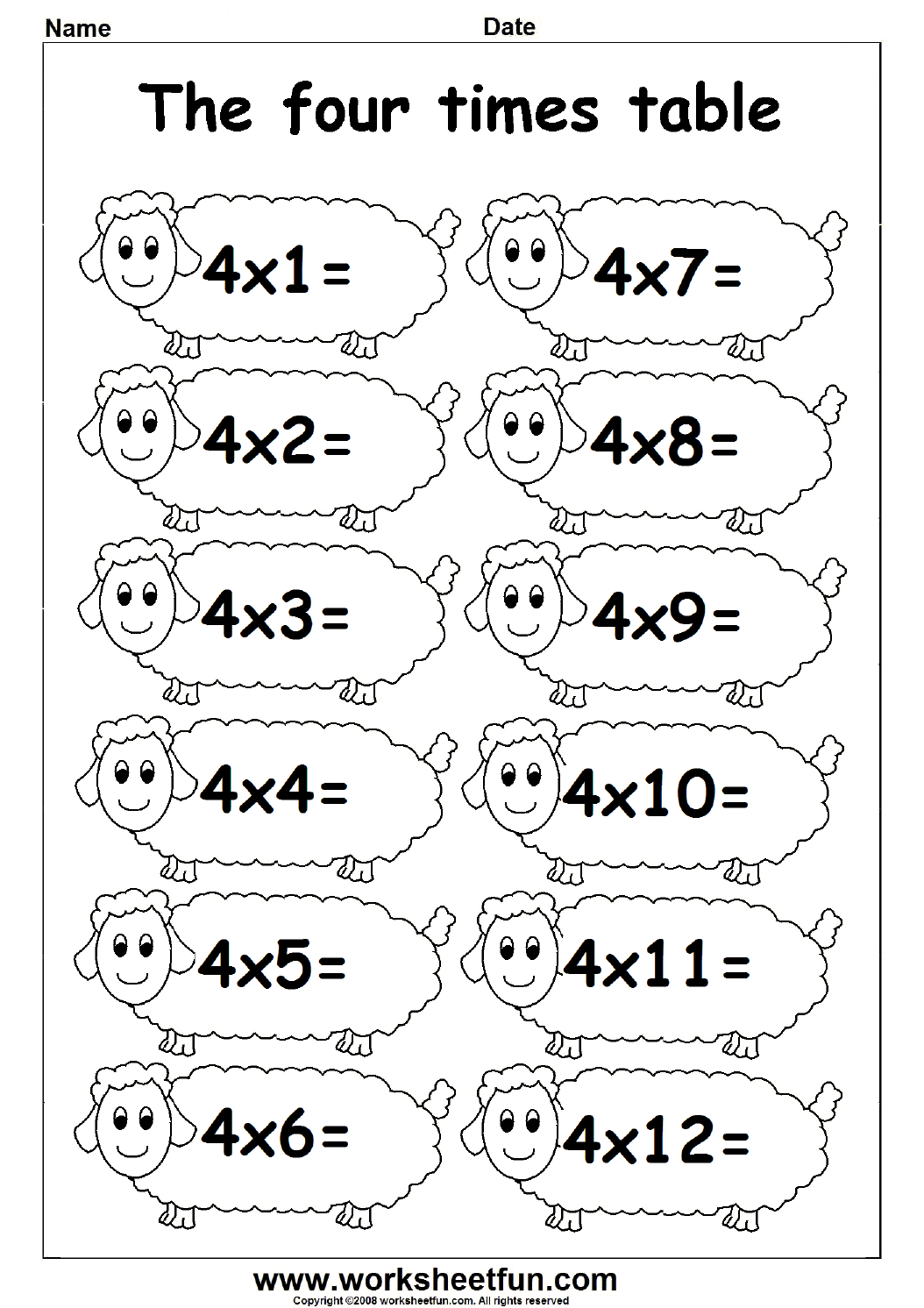 Multiplication Times Tables Worksheets 2 3 Amp 4 Times