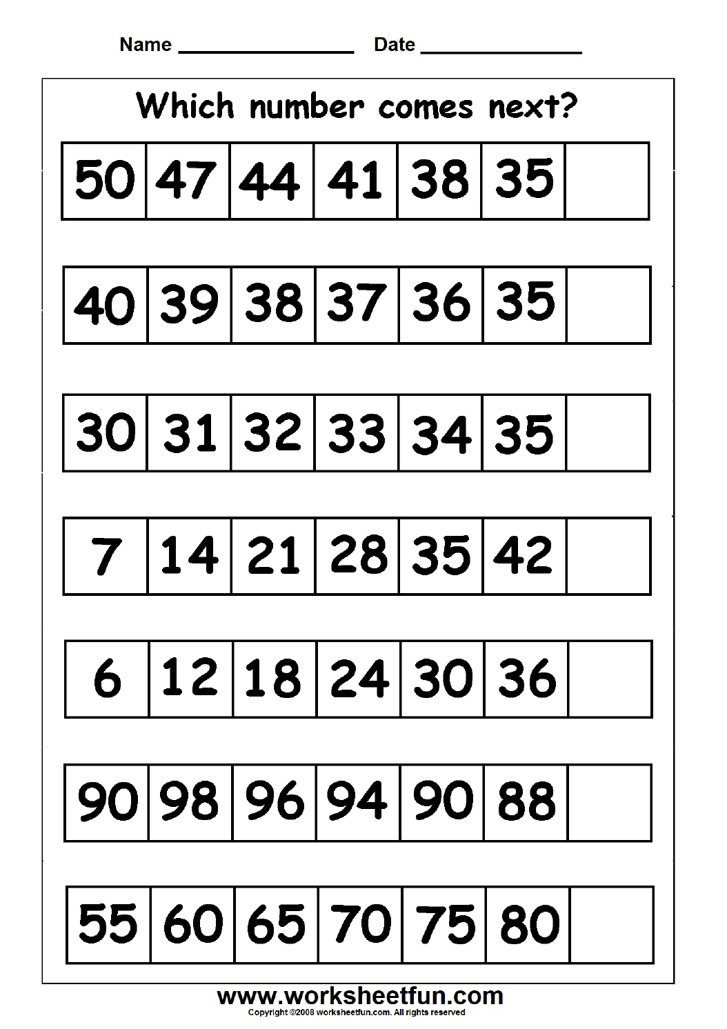 Skip Counting Missing Numbers 9 Worksheets Free