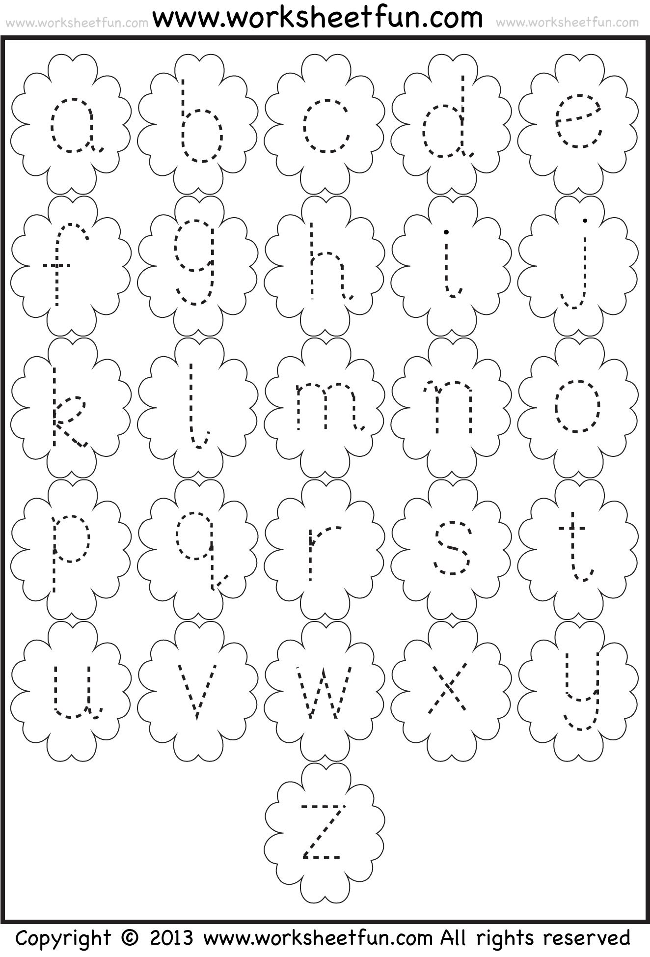 Small Letter Tracing Lowercase Worksheet Flower