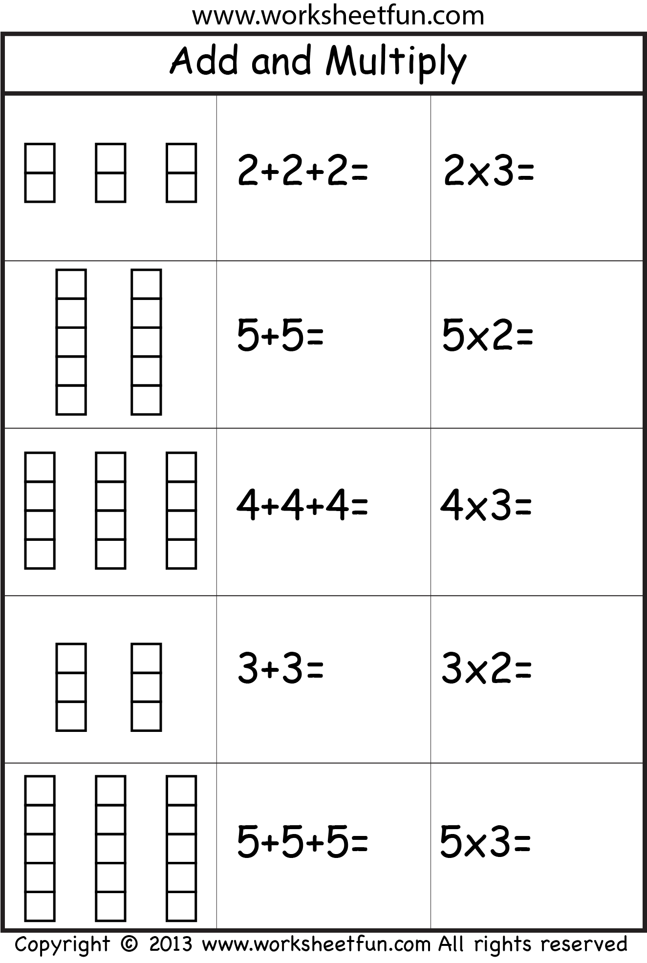 Free Repeated Addition Worksheet