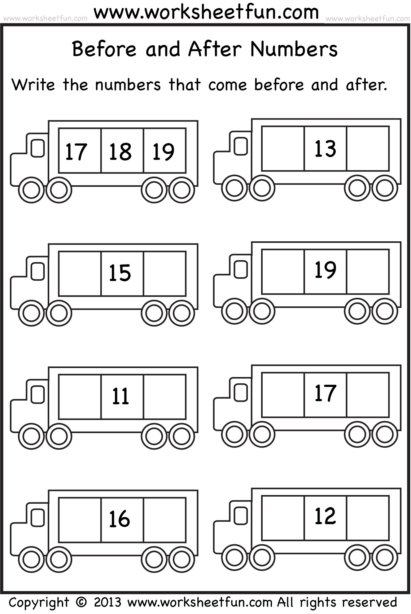 Number 2 Worksheets And Before After