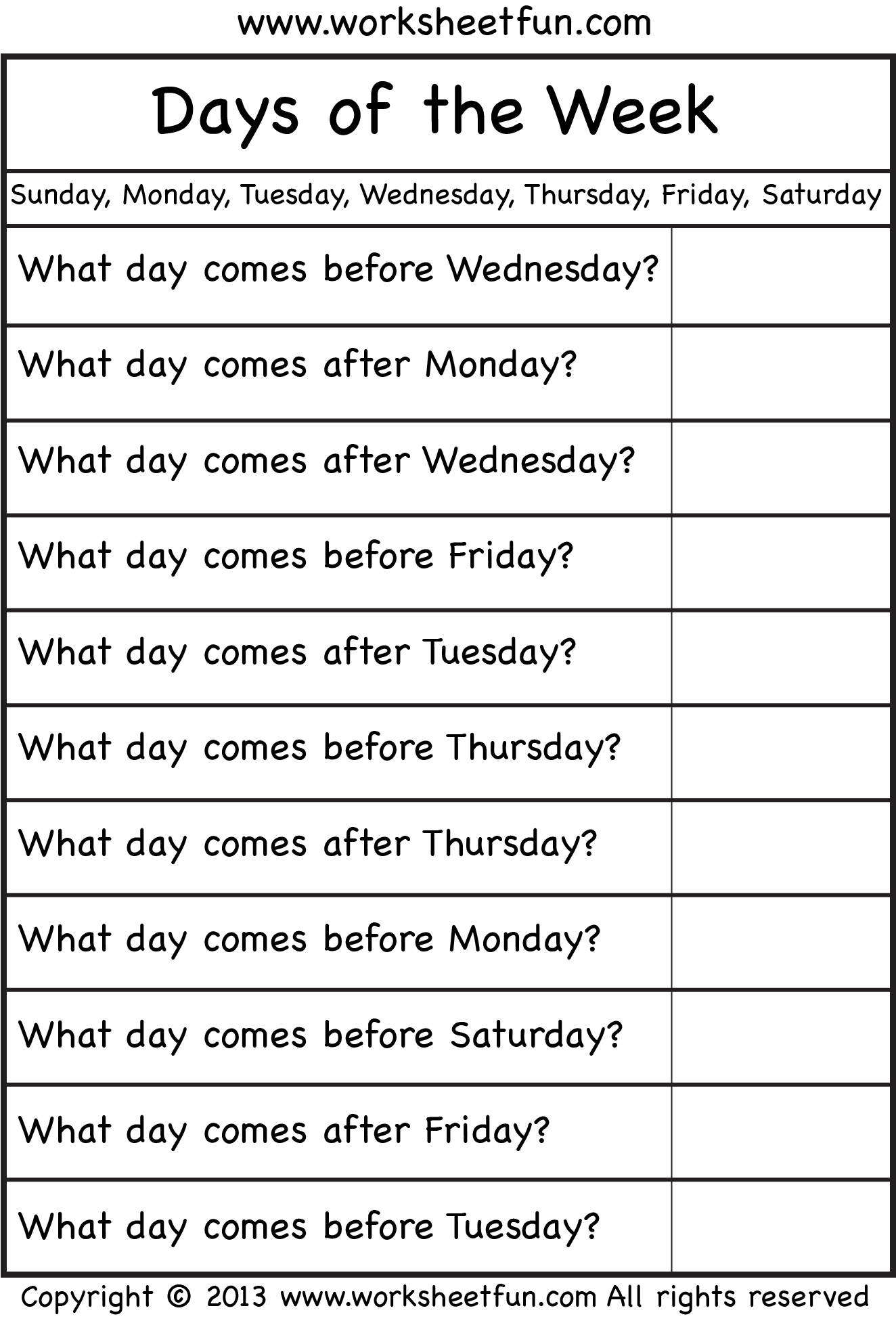 Days Of The Week Worksheet Free Printable Worksheets
